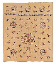 A Chinese Silk Beige-Gold Embroidered Brocade Hanging LATE QING DYNASTY 61 1/2 x 77 1/2 inches.
