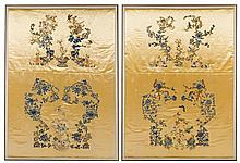 A Rare Set of Six Chinese Imperial Yellow Embroidered Silk Panels 19TH CENTURY Largest 66 x 44 1/2 inches.