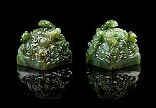 A Rare Pair of Chinese Imperial Spinach Jade Seals 18TH CENTURY, LIKELY QIANLONG PERIOD