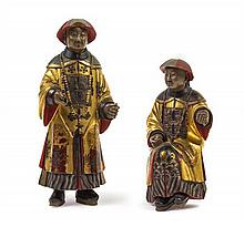 A Pair of Chinese Gilded Wood Figures of Mandarin 18TH/19TH CENTURY Height of taller 10 inches.