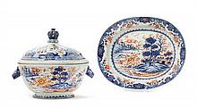 A Chinese Export Imari Pattern Porcelain Covered Tureen and Plate 18TH CENTURY Width of platter 15 1/4 inches.
