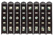 A Chinese Eight-Panel Famille Rose Porcelain Inlaid Hardwood Floor Screen 19TH CENTURY Height overall 69 inches.