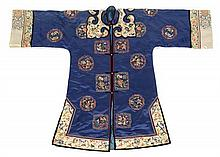 A Chinese Embroidered Silk Lady's Informal Robe 19TH CENTURY Length 42 inches.