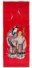 A Chinese Embroidered Silk Panel 84 x 36 1/2 inches.