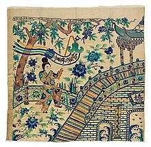 A Large Chinese Embroidered Silk Tapestry LATE 19TH CENTURY 96 x 72 inches.