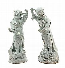 A Pair of Large Chinese Qingbai Porcelain Figures of Guardians MING DYNASTY Height of taller 22 3/8 inches.