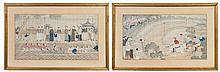 A Pair of Chinese Silk Paintings LATE QING DYNASTY 10 3/4 x 19 3/4 inches.