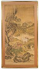 In the Manner of Shen Quan, (Chinese, 1682-1760), Deer in Riverscape Scene