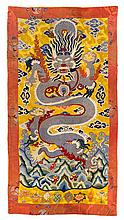 A Large Chinese Embroidered Silk Rectangular Panel QING DYNASTY 85 1/2 x 47 inches.
