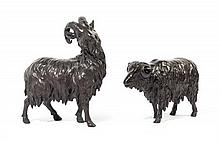 A Pair of Japanese Bronze Rams SIGNED ATSU YOSHI, LATE 19TH CENTURY, MEIJI PERIOD Height of tallest 11 3/4 inches.
