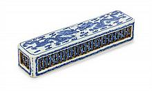 A Chinese Blue and White Porcelain Reticulated Wrist Rest 18TH/19TH CENTURY Length 7 3/8 inches.