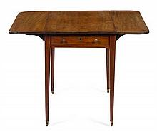 A George III Fruitwood Inlaid Mahogany Pembroke Table Height 27 1/2 x width 20 x depth 20 inches when closed.