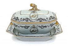 * A Chinese Export Porcelain Soup Tureen and Stand Width at widest 14 3/4 inches.