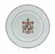 A Chinese Export Porcelain Armorial Plate Diameter 9 1/8 inches.