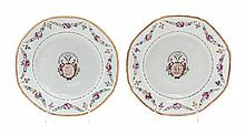 A Pair of Chinese Export Porcelain Armorial Plates Diameter 9 inches.