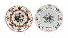 Two Chinese Export Porcelain Armorial Dishes Diameter of larger 8 7/8 inches.