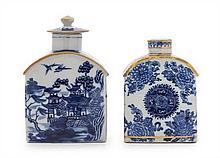 * Two Chinese Export Blue and White Porcelain Tea Caddies Height of taller 5 1/2 inches.