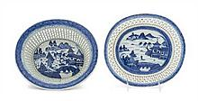 * A Chinese Porcelain Reticulated Basket and Undertray Width of basket 9 7/8 inches.