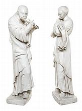 * A Pair of Continental Marble Figures Height of taller 33 inches.