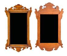 Two American Chippendale Style Mahogany Mirrors Larger: 27 x 16 inches.