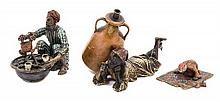 A Group of Three Austrian Cold Painted Bronze Figures Height of largest 3 1/2 inches.