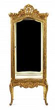 A George III Style Cream and Gilt Painted Vitrine Cabinet Height 70 x width 24 3/4 x depth 13/12 inches.