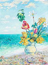 * David Burliuk, (Ukrainian, 1882-1967), Still Life - Flowers on Shore