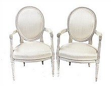 * A Pair of Louis XVI Style Fauteuils, Height 36 inches.
