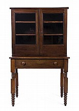 An American Walnut Step Back Cupboard, Height 59 1/2 x width 36 x depth 21 inches.