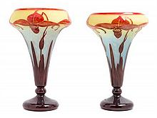 A Near Pair of Le Verre Francais Cameo Glass Vases Height of taller 13 7/8 inches.