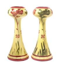 A Pair of Royal Dux Art Nouveau Pottery Vases Height 13 1/2 inches.