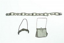 A Silver Purse Handle, Mesh Bag and Plated Art Nouveau Belt. Width 5 1/2 inches.