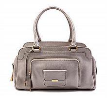 A Tod's Metallic Pewter Leather Handbag,