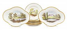 A Swansea Porcelain Topographical Dessert Service Width of widest 10 5/8 inches.