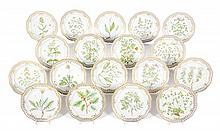 A Set of Eighteen Royal Copenhagen Flora Danica Dinner Plates Diameter 11 1/4 inches.
