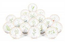 A Set of Eighteen Royal Copenhagen Flora Danica Soup Plates Diameter 8 3/4 inches.