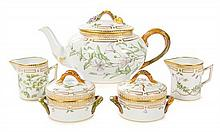 A Royal Copenhagen Flora Danica Tea Service Height of teapot 6 1/4 inches.