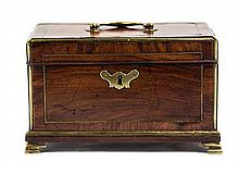 A George III Brass Banded Mahogany Table Box Width 9 3/4 inches.