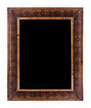 A William & Mary Oysterwood Veneered Mirror Height 39 1/4 x width 31 3/4 inches.