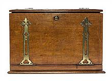 A Victorian Brass Banded Oak Traveling Desk Width 16 inches.