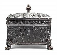 A Neoclassical Style Cast Metal Table Casket Width 7 inches.