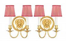 Two Neoclassical Gilt Bronze Two-Light Sconces Height overall 12 1/4 inches.