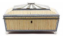 An Anglo Indian Bone and Quill Work Box Width 13 inches.