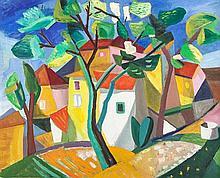 Albert Bertalan, (Hungarian, 1899-1957), Cubist House