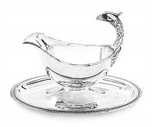 A French Silver-Plate Sauce Boat Width 9 1/4 inches.
