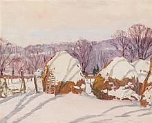 Robert Emmett Owen, (American, 1878-1957), Haystacks in Winter