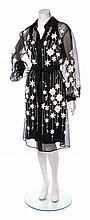 A Carolina Herrera Black and White Embroidered Dress Size 14.