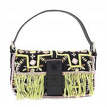 A Fendi Black Embroidered Baguette 10 x 9 x 2 inches.