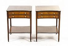* A Pair of Sheraton Style Mahogany Night Stands, Height 26 x width 19 x depth 18 inches.