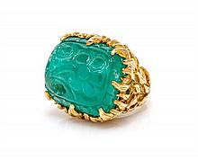 * An 18 Karat Yellow Gold and Carved Emerald Ring, Tony Duquette, 30.50 dwts.